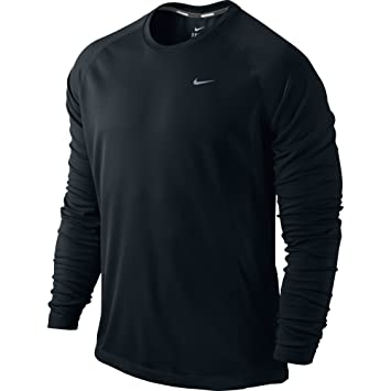 Amazon.com: Men's Nike Miler Running Shirt: Long-sleeve fit Black ...