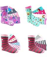 12 Paar myLaake Mädchen Socken Kinder Strümpfe Kids Socks 90 % Baumwolle Gr. 23-26 / 35-38 Verschiedene Farben und Motive