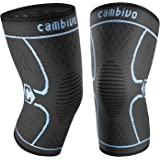 CAMBIVO 2 Pack Knee Brace, Knee Compression Sleeve Support for Running, Arthritis, ACL, Meniscus Tear, Sports, Joint Pain Relief and Injury Recovery (FDA approved)