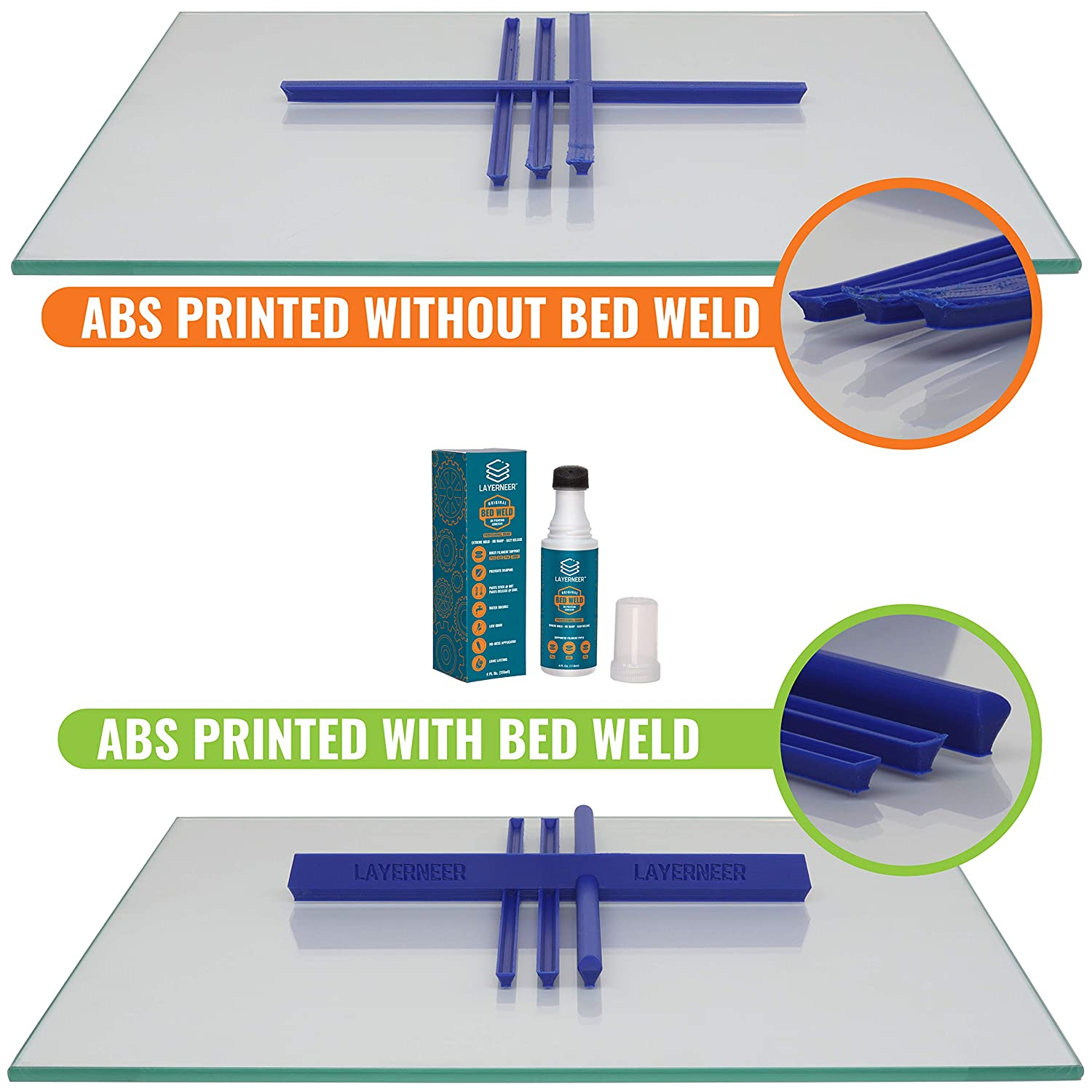 amazon com: 3d printer adhesive glue by layerneer, bed weld original,  strong grip reduces warping for abs, pla, and petg filament on heated build  plates,
