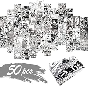 50PCS Anime Aesthetic Pictures Wall Collage Kit, Anime Style Photo Collection Collage Dorm Decor for Teens and Young Adults, Wall Prints Kit, Small Posters for Room Bedroom Aesthetic
