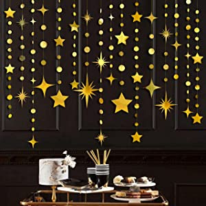 Gold Party Decorations Star Circle Dot Paper Garland Banner Bunting Streamer Metallic Hanging Twinkle Star Decoration for Birthday Baby Shower Wedding Festival Engagement Graduation Kids Room Decor