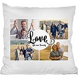 """Personello® Fotokissen (40x40) Collage mit 4 Fotos, LOVE Schriftzug und Spruch """"We are family"""", Fotogeschenk, Kissen mit Text, inklusive Füllung und Reißverschluss"""