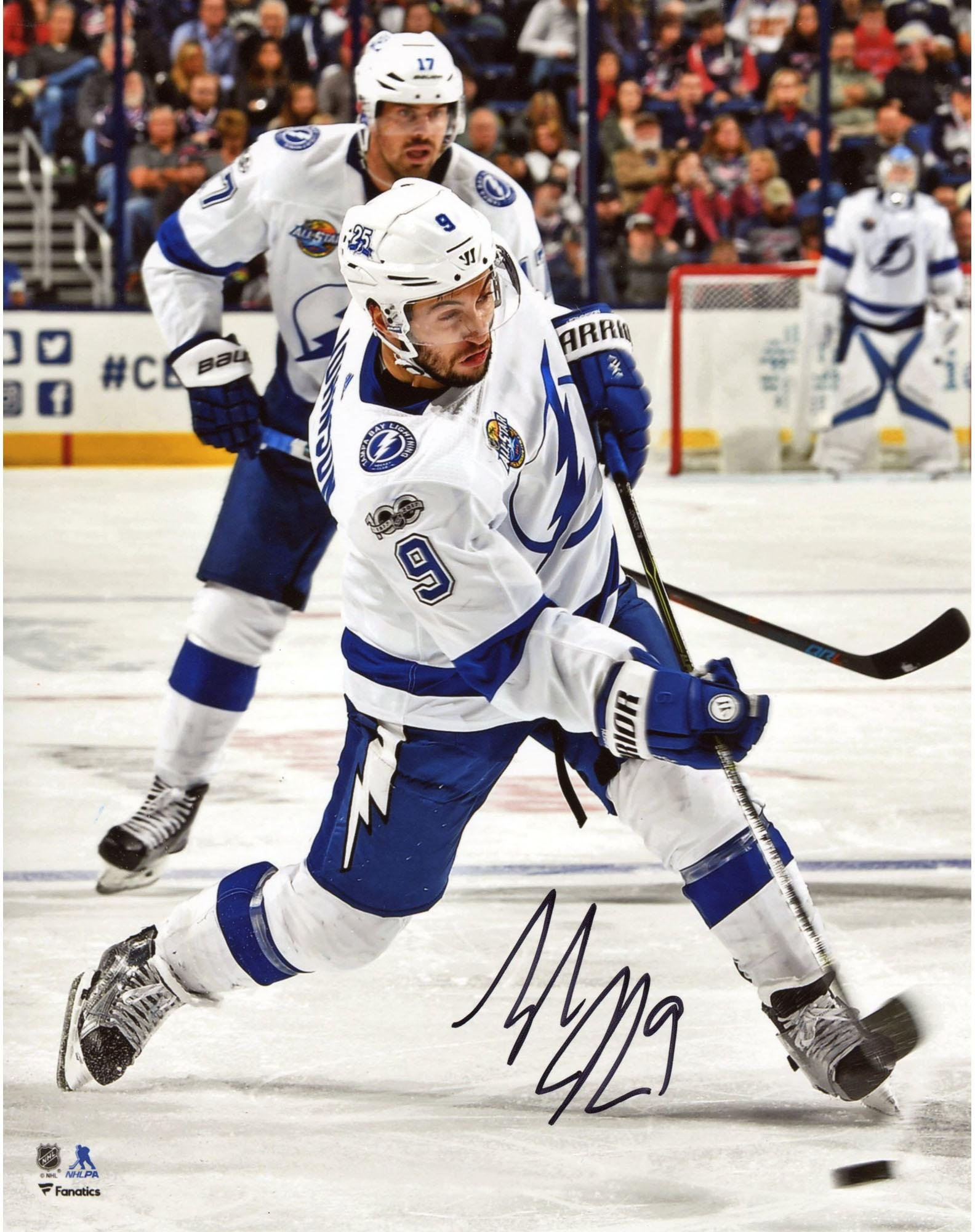 """Tyler Johnson Tampa Bay Lightning Autographed 8"""" x 10"""" White Jersey Shooting Photograph Fanatics Authentic Certified"""