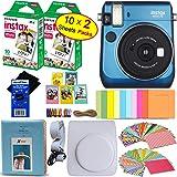 Fujifilm instax mini 70 Instant Film Camera (Island Blue) + Fujifilm instax mini Instant Film (20 sheets) + Custom Case + Assorted Frames + Photo Album + 60 Colorful Sticker Frames + HeroFiber