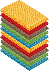 DecorRack 10 Pack Kitchen Dish Towels, 100% Cotton, 12 x 12 Inch Dish Cloths, Perfect Cleaning Cloth for Washing Dishes, Kitchen, Bar, Counter and Car, Assorted Colors (Pack of 10)