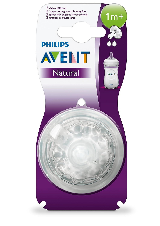 paquete de 2 Silicona Philips Avent Natural SCF652//27 flujo lento con 1 agujero 1m+ Tetina para biber/ón