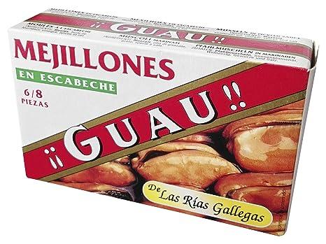 Guau Mejillones De Las Rias Gallegas En Escabeche, 6/8 Piezas - Paquete de 5 x 111 gr - Total: 555 gr