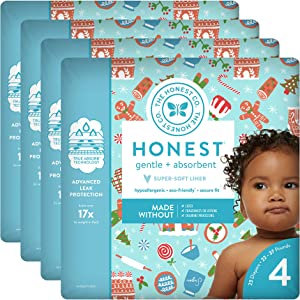 The Honest Company Baby Diapers with True Absorb Technology, Gingerbread Time, Size 4, 23 Count, Pack of 4