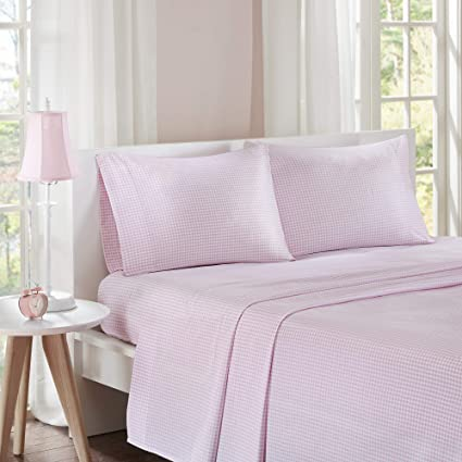 Mi Zone Gingham Full Bed Sheets, Casual 100% Cotton Bed Sheet, Pink
