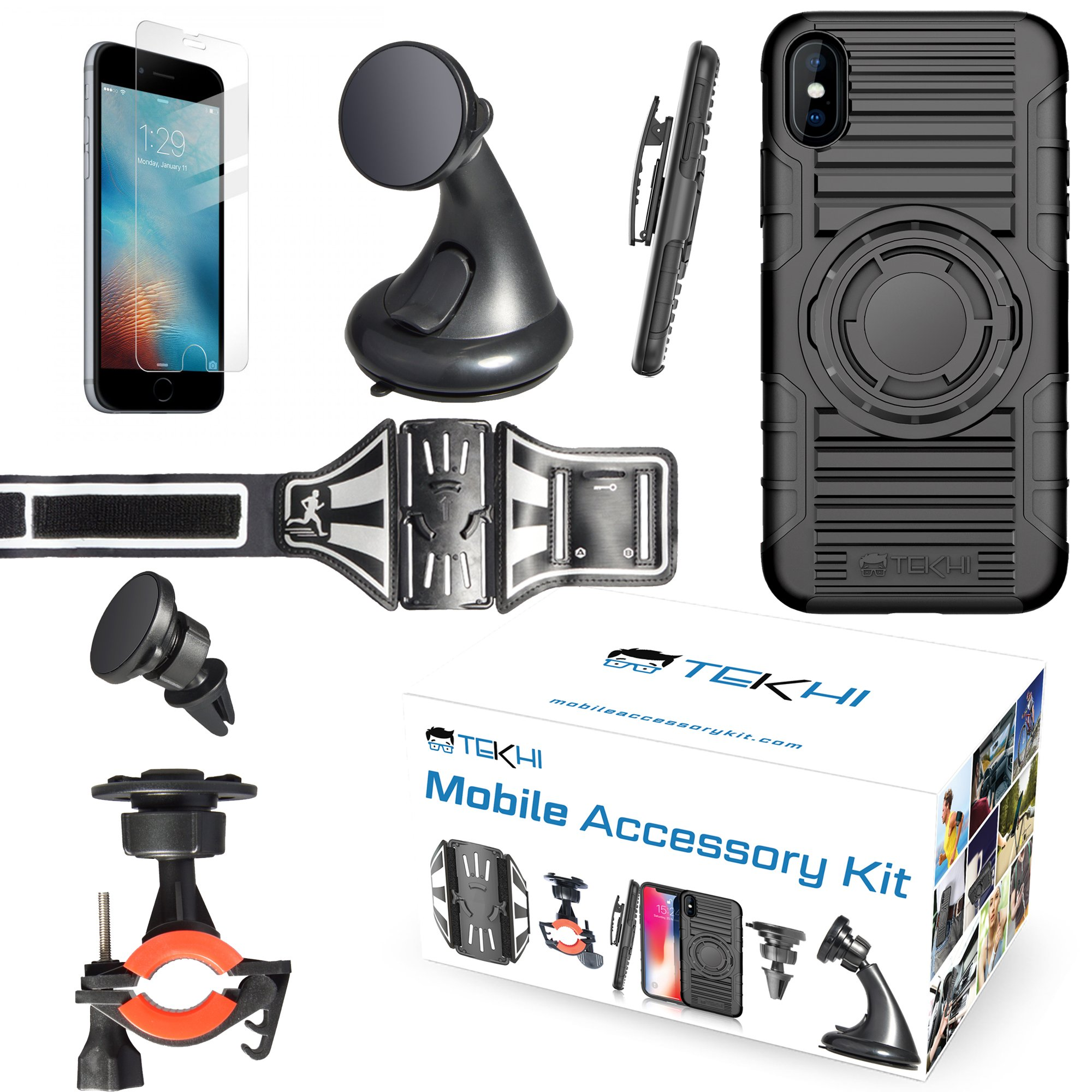IPhone 8 Plus Bundle Accessory Combo Set Kit - Includes: Silicone Protective Case + Bike Mount + Running Armband + Car Magnetic Air Vent Mount + Car Windshield Holder+ Screen Protector + Clip Holster by Tekhi