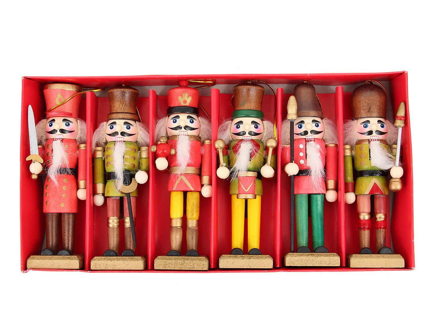 90S Pack of 6 Wooden Soldier and Band Nutcrackers Exquisite Festive Home Decor