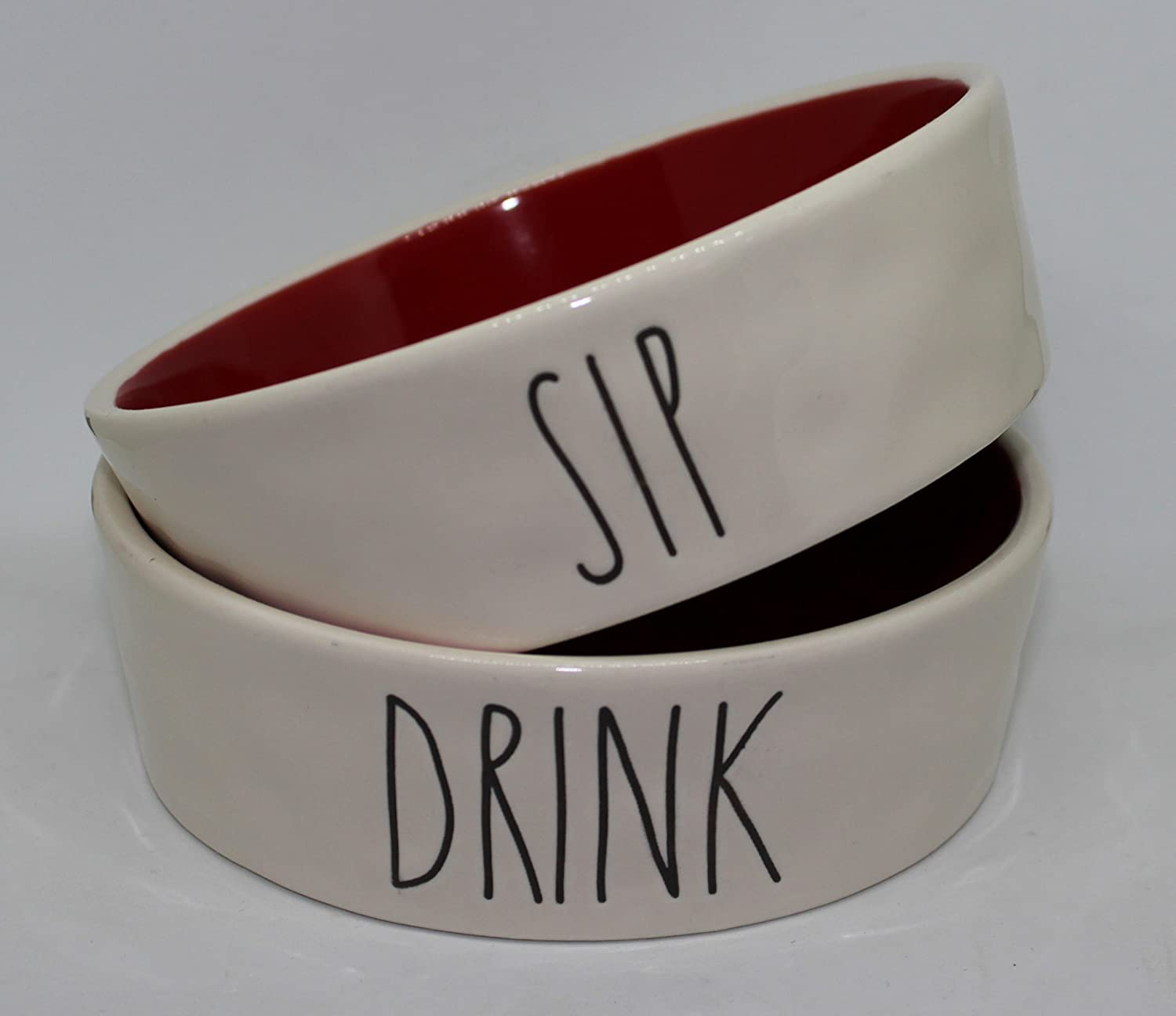 Rae Dunn SIP and Drink in Large Letters LL with Christmas Red Interior 2 Bowl Set of Small 4.5 inch Round Pet Cat Cereal Soup Snack Bowl. by Magenta.