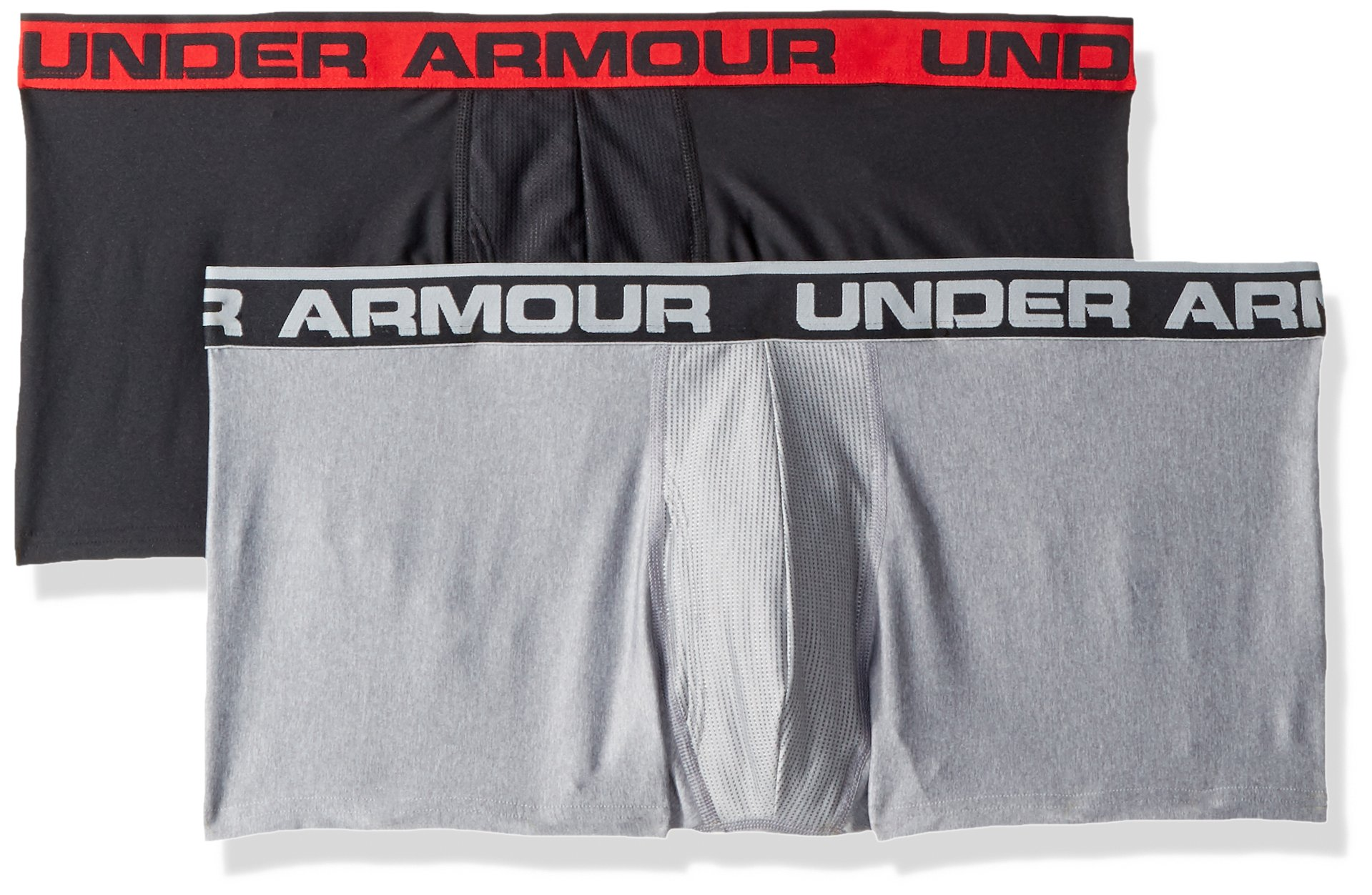 Under Armour Men's O-Series 3in Boxerjock (2 Pack), Black (002)/Steel Light Heather, XX-Large by Under Armour