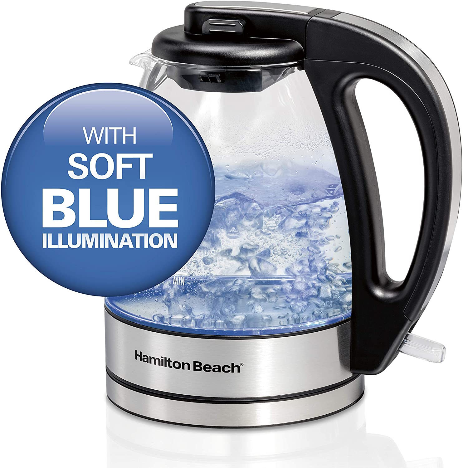 Automatic Shutoff Cord-Free Design 1.7 Liter Capacity Hamilton Beach 40864C Glass Electric Kettle