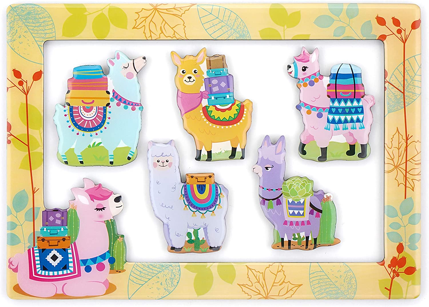 """Morcart 6-in-1 Fridge Magnets and 4""""x 6"""" Magnetic Photo Frame Set 5pcs Alpaca Refrigerator Magnets, Best Gift Choice (Alpaca Magnets)"""