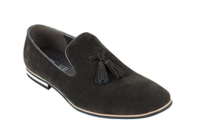 Mens Faux Leather Slip on Suede Loafers Driving Shoes Tassel Design UK Size 6 12  7W5AB5XT9