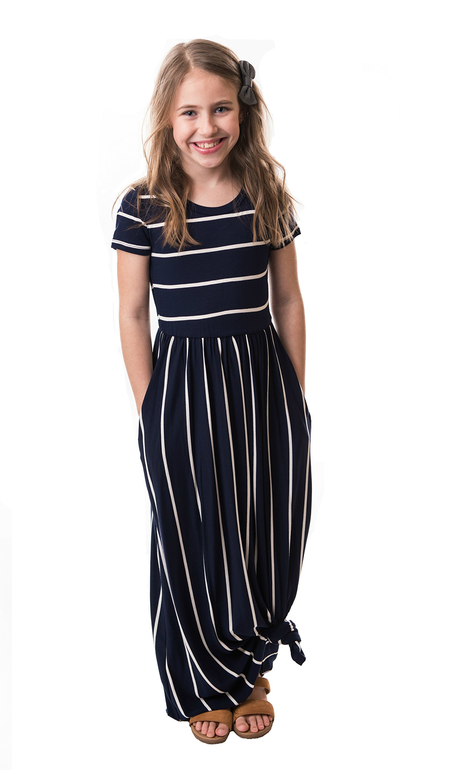 e3ee679d86d Chrome Classic Girls Striped Maxi Dress Made in The USA < Dresses <  Clothing, Shoes & Jewelry - tibs