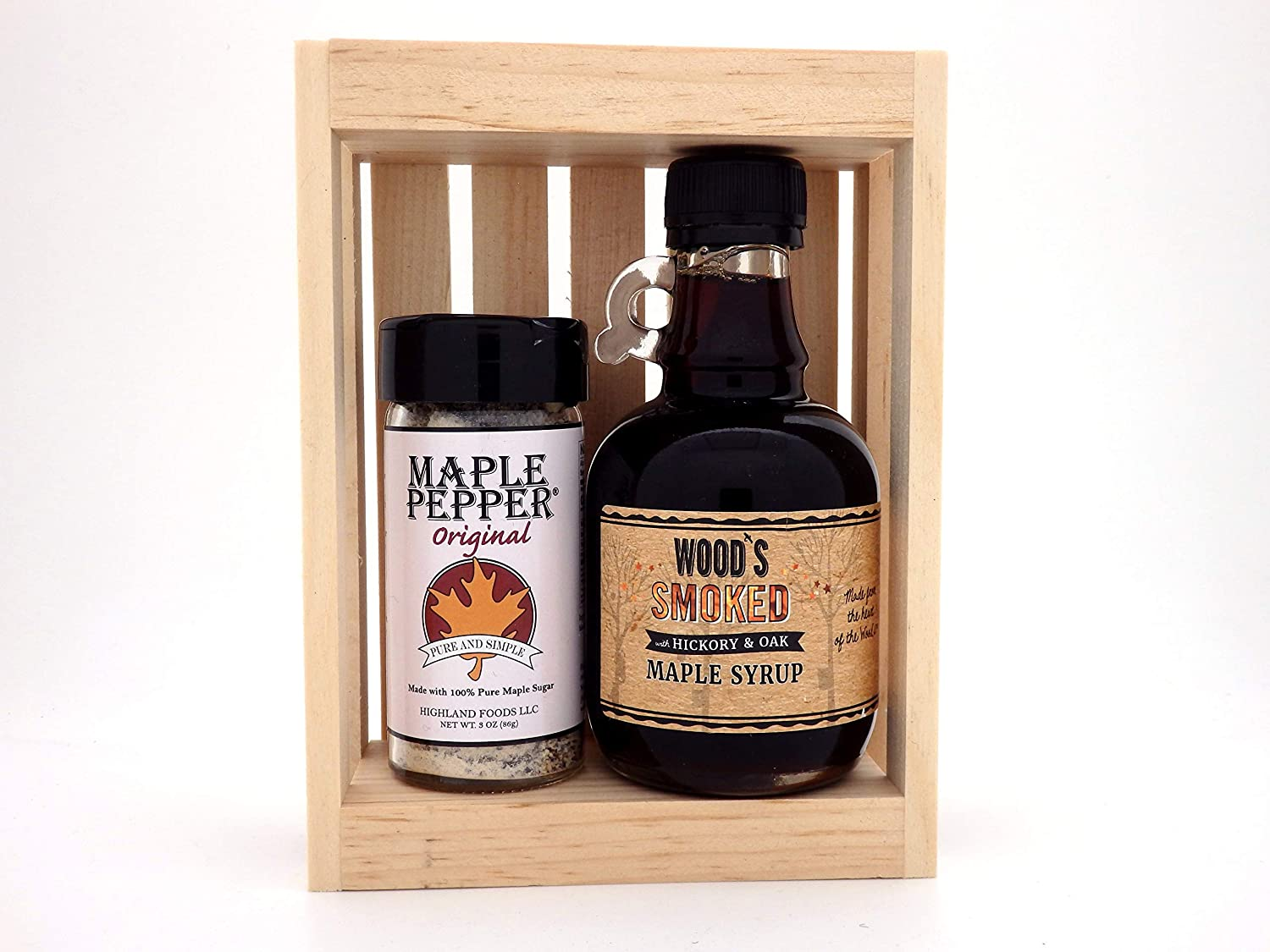 New England Maple Syrup Foodie Seasoning Gift Set - Maple Pepper Seasoning and Smoked Maple Syrup - in Gift Crate