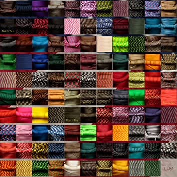 109 Colors USA Made 7 Strand Paracord 50 or 100 FT Type 3 550 Parachute Cord