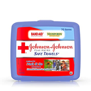 Johnson & Johnson Brand Safe Travels Portable First Aid Kit for Minor Wound  Care with Assorted