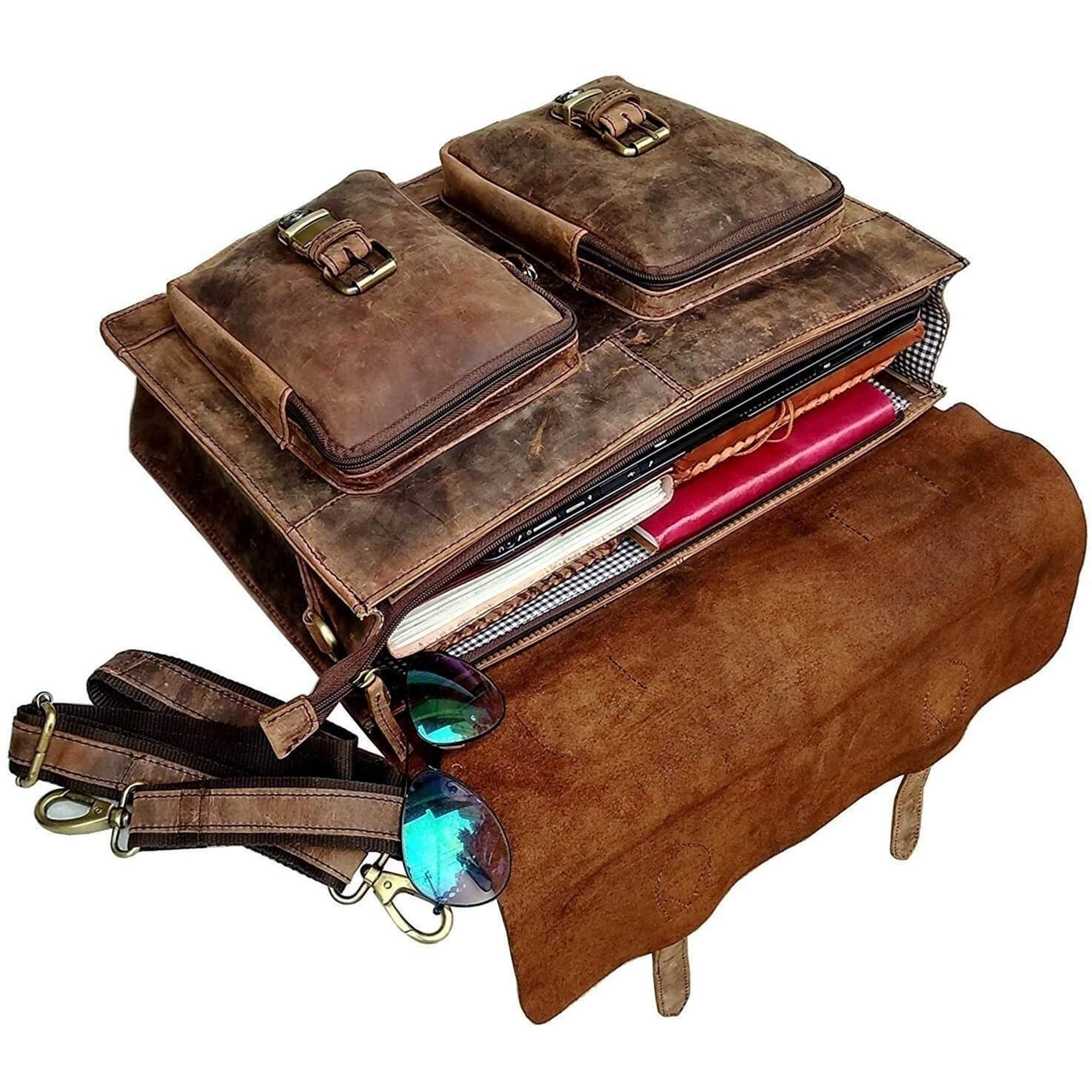 Retro Buffalo Hunter Leather Laptop Messenger Bag Office Briefcase College Bag by Urban Hide (18'') by Urban Hide (Image #5)