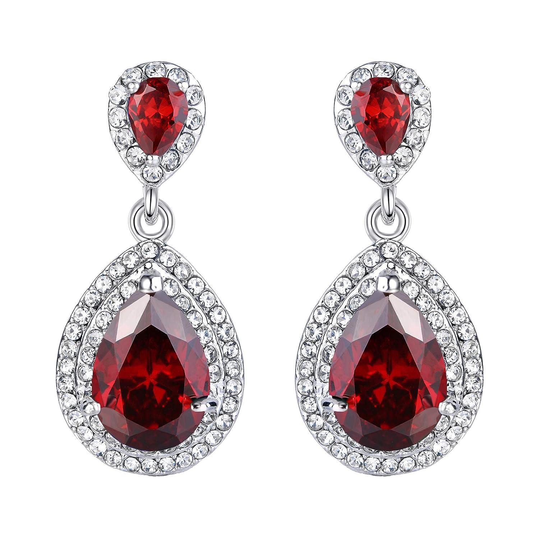 Ever Faith Wedding Tear Drop Earring Clear Cubic Zirconia Crystal N04154-4