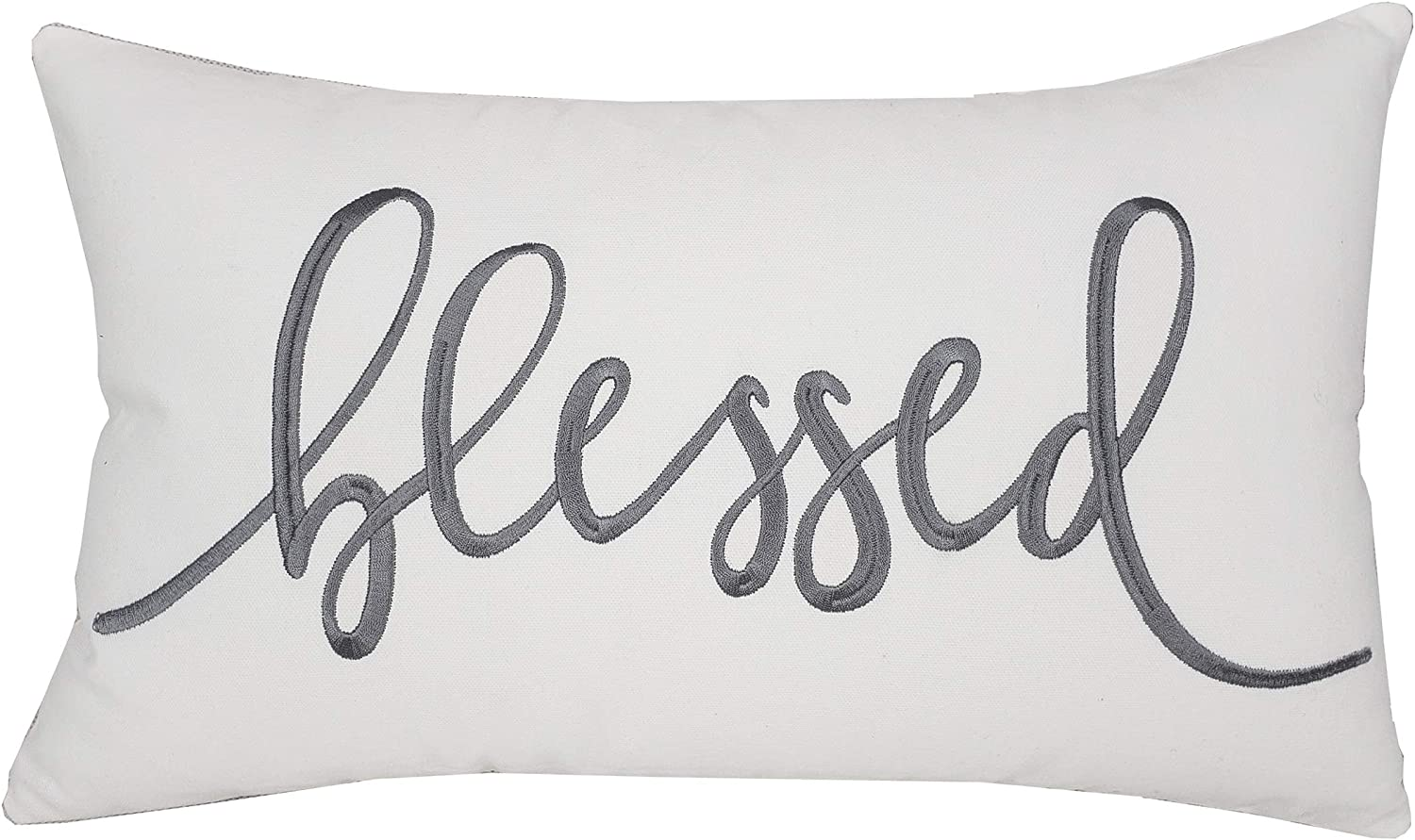 """EURASIA DECOR DecorHouzz Pillowcase Farmhouse Embroidered Home Throw Pillow Cover Funny Quote Cushion Cover for Housewarming Guest Porch Wedding Anniversary Couple (12""""X20"""", Blessed(Ivory))"""