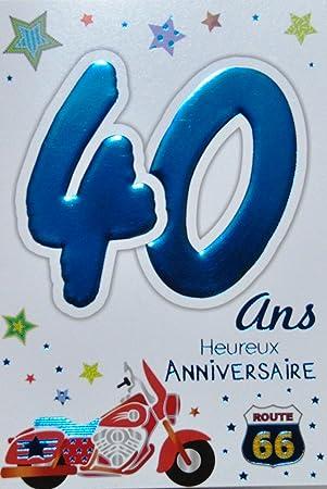 Age Mv 69 2031 Carte Anniversaire 40 Ans Homme Motif Moto Route 66