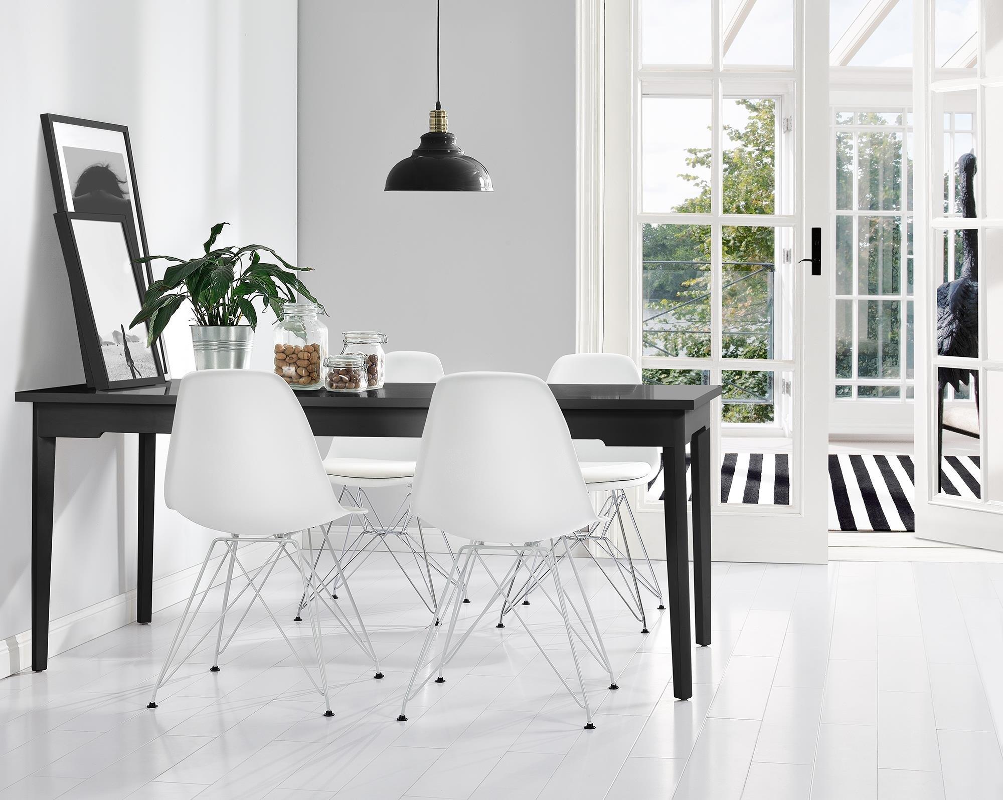 Novogratz Louise Mid Century Modern Molded Chair with Coloured Leg, Set of Two -  White