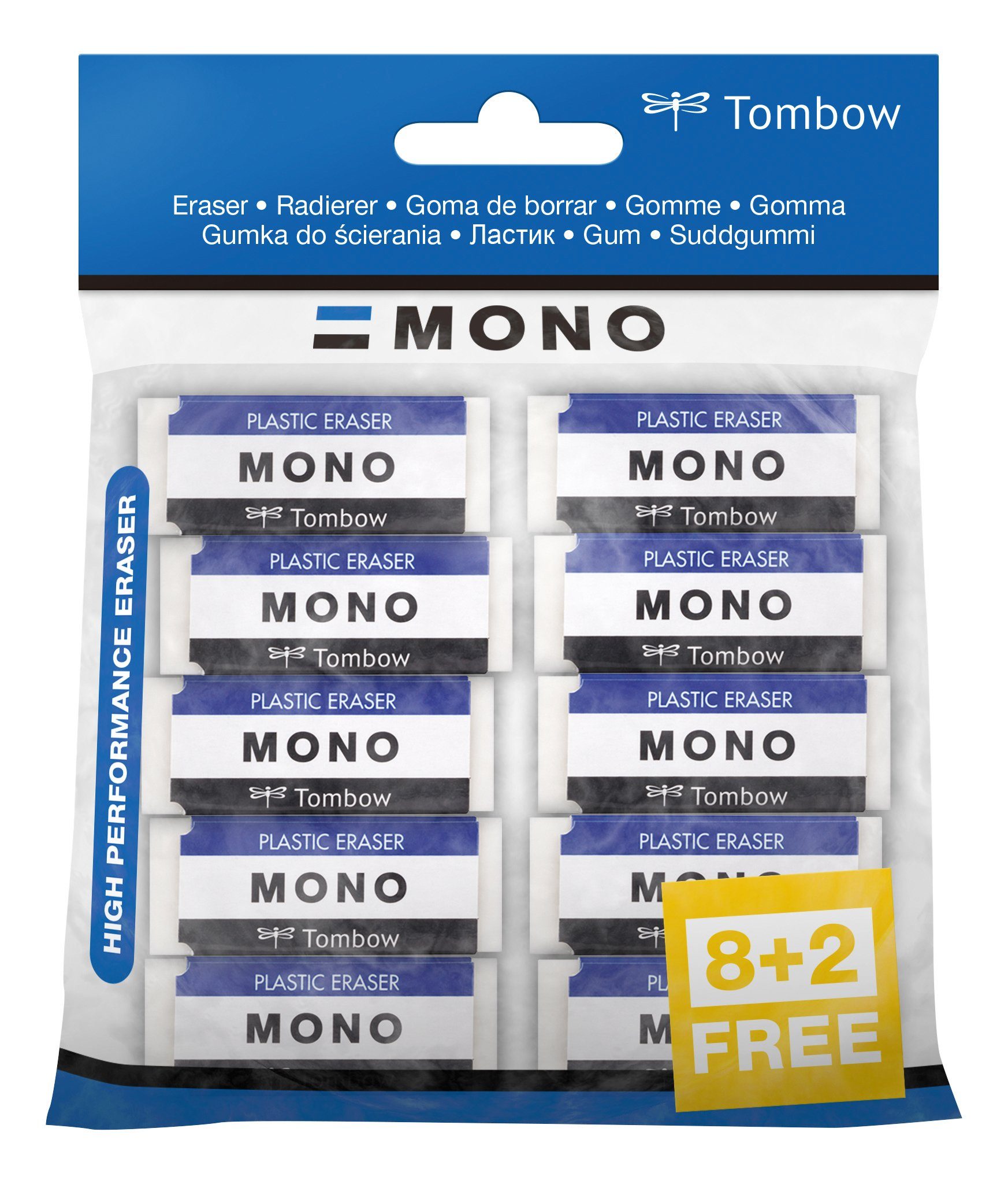 Tombow PE 01A 10P Eraser Mono XS, PVC, Phthalate & Latex Free-11g