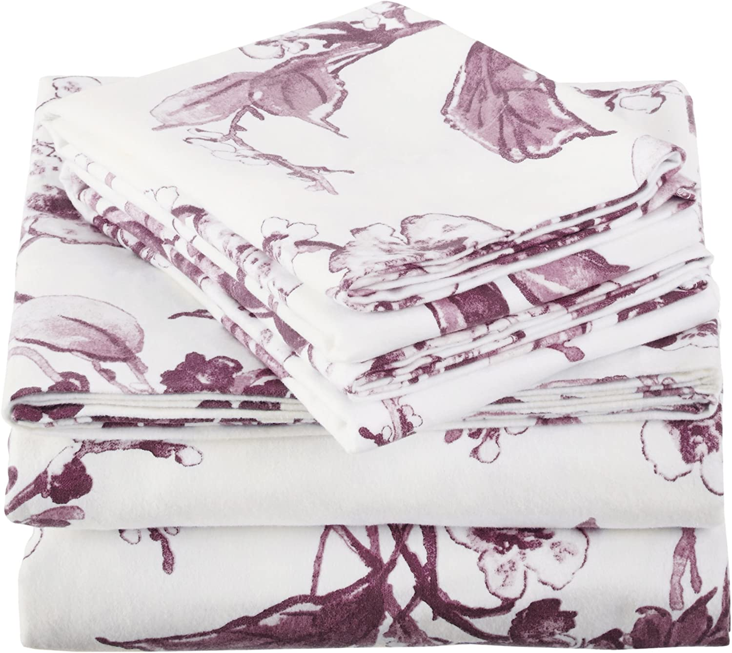 Pinzon Signature Cotton Heavyweight Velvet Flannel Sheet Set California King Aubergine Home Kitchen Www Hapoelb7 Co Il