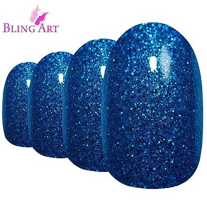 Uñas Postizas Bling Art Azul Gel Ovale 24 Medio Falsas puntas acrílicas con pegamento