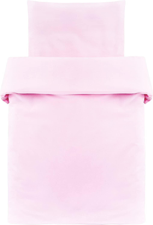 Makian - Funda Nórdica 80x80 cm y Funda Almohada 35x40 cm - Ropa de cama para Minicuna y Moisés, 100% algodón, Certificado ÖkoTex- rosa