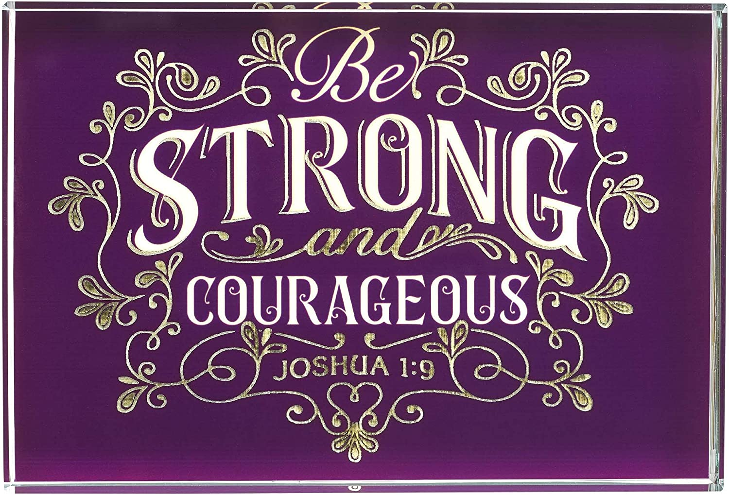 Christian Art Gifts Be Strong & Courageous Joshua 1:9 Purple Glass Plaque Inspirational Home or Office Desk Décor, 4 x 6
