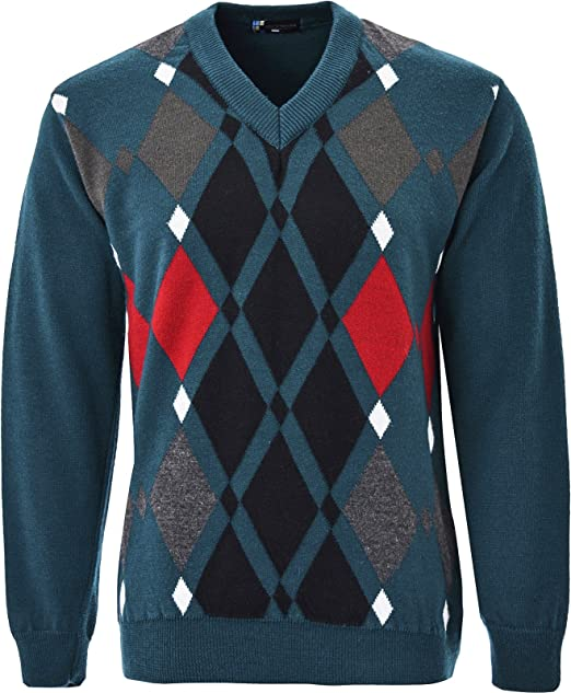 a43355a0a87f1b Guv'nors Mens Knitted Jumper Diamond Pattern V Neck Long Sleeves Knit Top:  Amazon.co.uk: Clothing