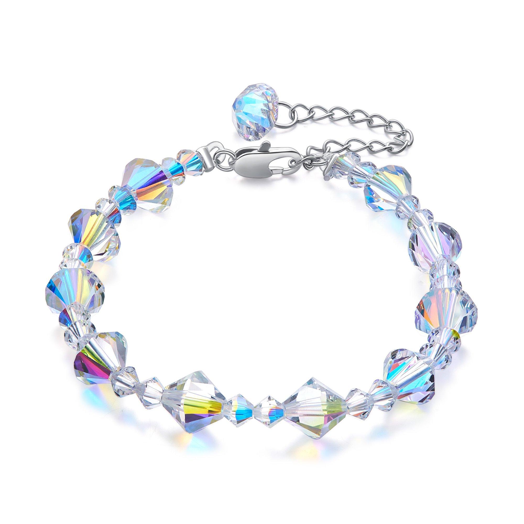 CDE ''Snow White Swarovski Bracelets 7''-9'' Adjustable Strand Bracelet Women Fashion Jewelry Gifts for Her
