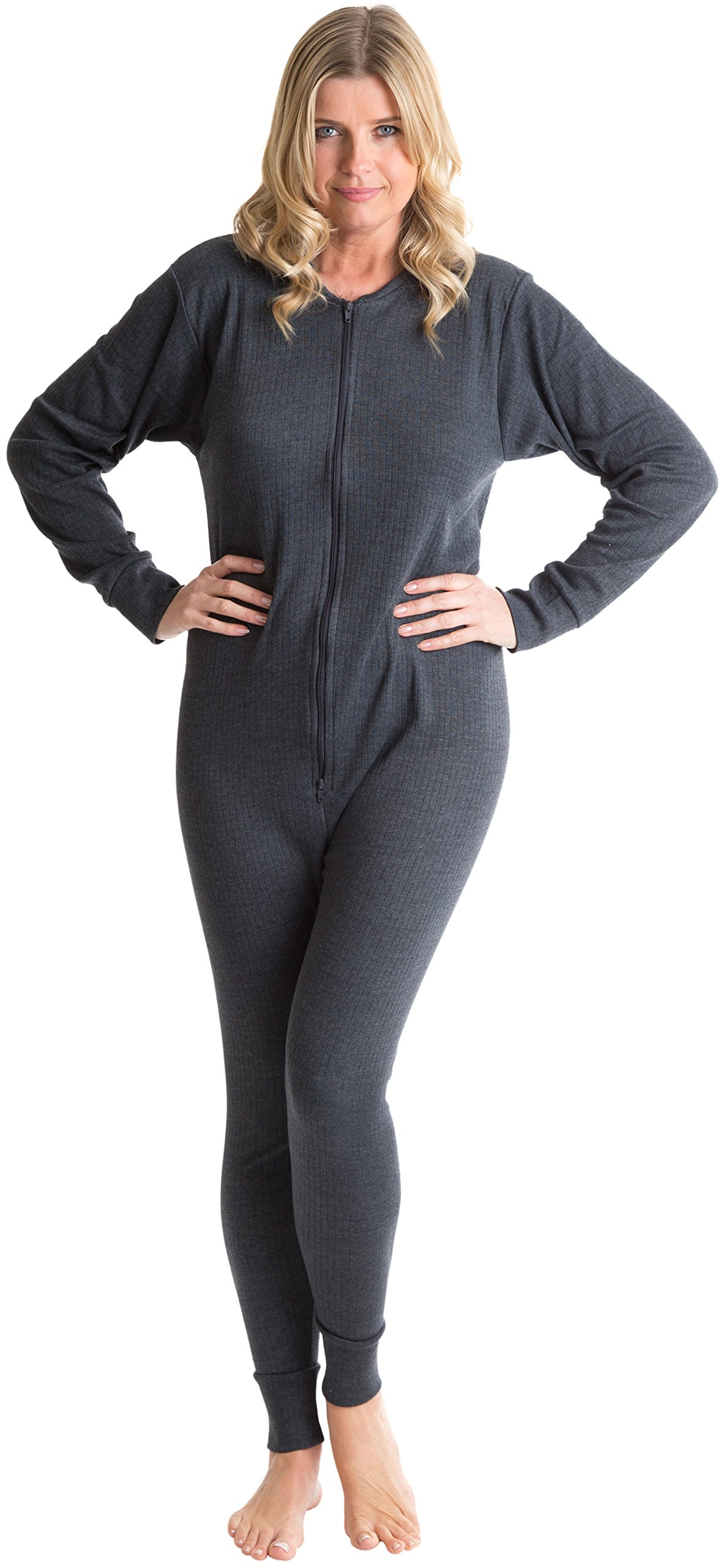 6 Pack Octave Womens Thermal Underwear All In One Union Suit / Thermal Body Suit (Small, Charcoal)