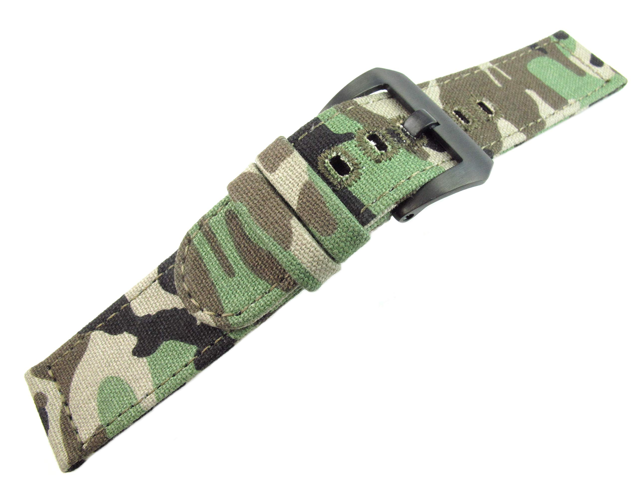 26mm Watch Strap Watchband Canvas Camouflage Sports Army Military Soft Thin 2.5mm Panerai Screw in Brushed Solid Buckle Fashion Trend New JRRS7777 (Green Camouflage Brushed Black Buckle)