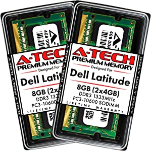 A-Tech 8GB (2x4GB) RAM for Dell Latitude E6520, E6420, E6320, E6220, E5520, E5420 | DDR3 1333MHz SODIMM PC3-10600 Laptop Memory Upgrade Kit