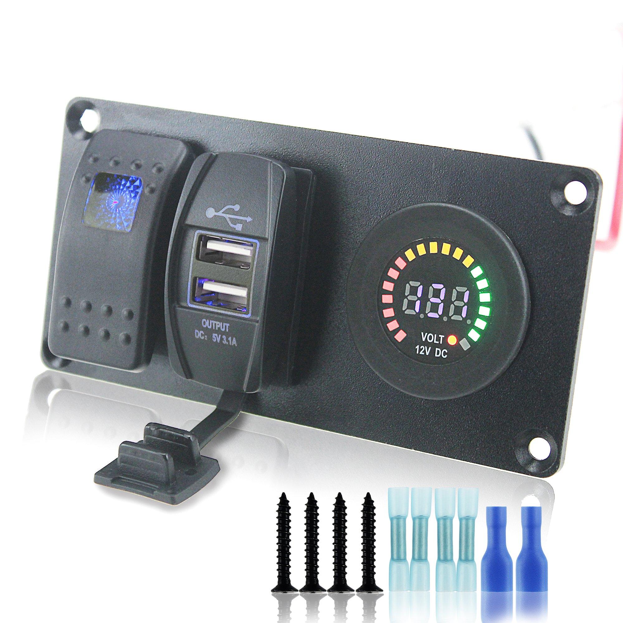 Iztor DC 12V Push Rocker Switch & 3.1A USB & voltmeter socket blue Indicator aluminum panel for Cars Trucks ATVs by iztor