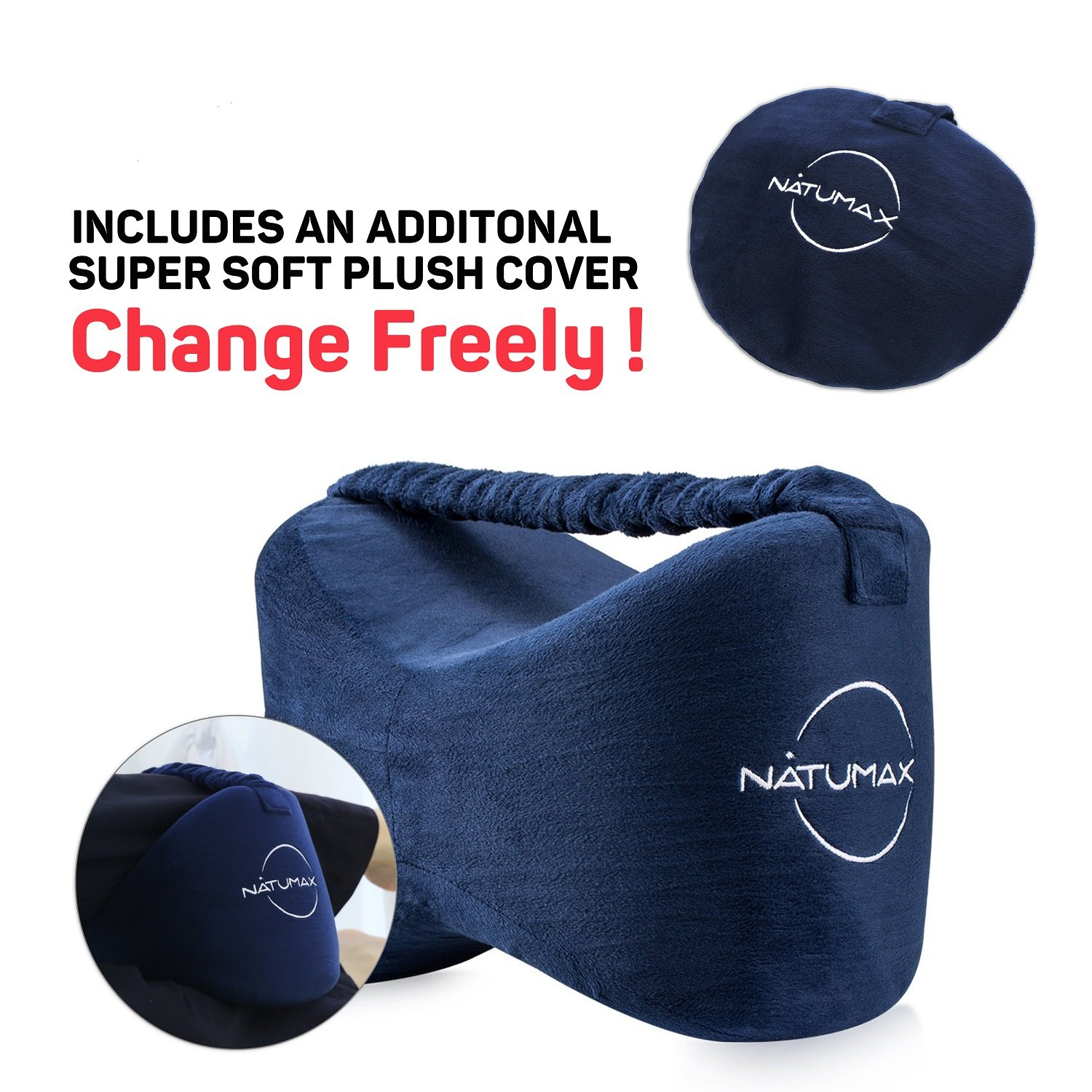NATUMAX Knee Pillow for Side Sleepers - Sciatica Pain Relief - Back Pain, Leg Pain, Pregnancy, Hip and Joint Pain Memory Foam Leg Pillow with Washable Cover + Free Sleep Mask and Ear Plugs by NATUMAX (Image #2)
