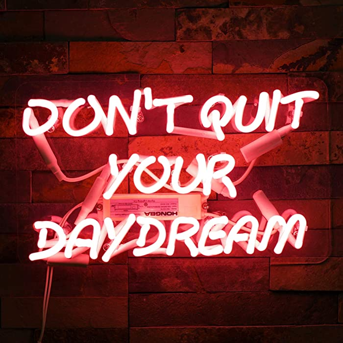 "Neon Signs DON'T QUIT YOUR DAYDREAM Beer Bar Bedroom Neon Light Handmade Glass Neon Lights Sign for Bedroom Office Hotel Pub Cafe Recreation Room Wall Decor Night Light 15"" x 9"" Pink"