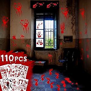 WEILIAN Halloween Bloody Sticker Party Decorations Stickers, Window Decals, Bloody Handprints, Footprints, Floor Stickers, Bloody Zombie Party Decor 8 Sheet (25x35 inch)
