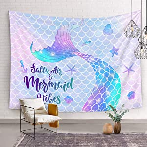 Bonsai Tree Mermaid Tapestry, Mermaid Scales Tail Small Wall Tapestries for Girls, Cute Magic Glitter Pink Purple Summer Beach Wall Hanging Art for Living Room Dorm Home Decor, 59x59 Inches