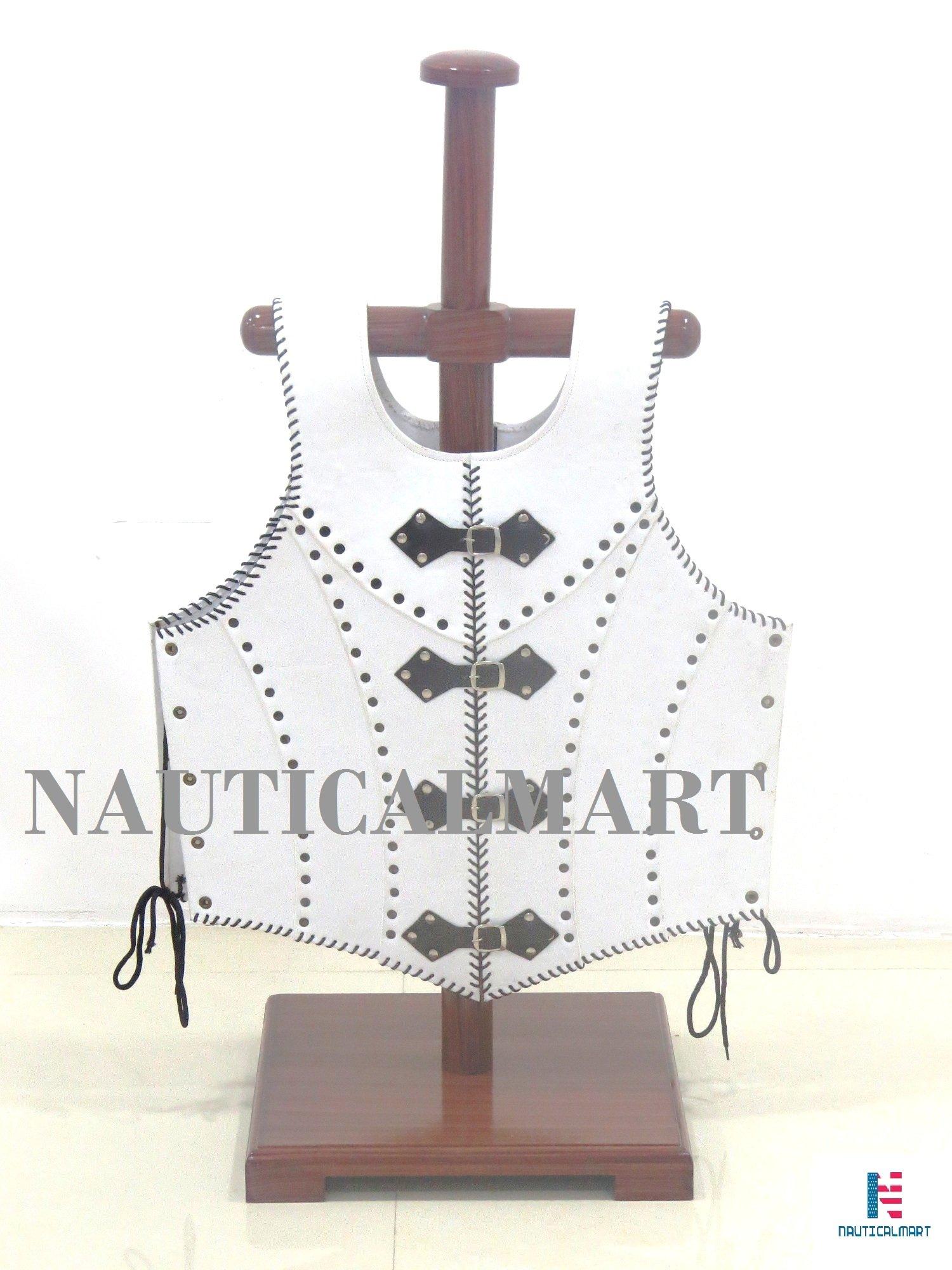 NAUTICALMART Veterans Leather Body Armour White by by NAUTICALMART