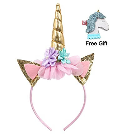 Amazon.com   Glitter Unicorn Horn Headband with Unicorn Hair Clip ... 3372394a6b5