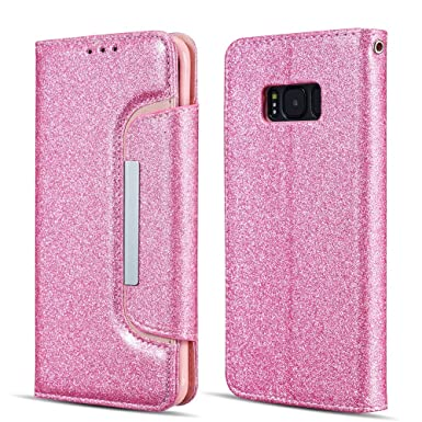 UEEBAI Case for Galaxy J3 2015/J3 2016,Luxury Bling Glitter Case with [Big  Magnetic Buckle] [Card Slots] Stand Function PU Leather Flip Wallet Cover