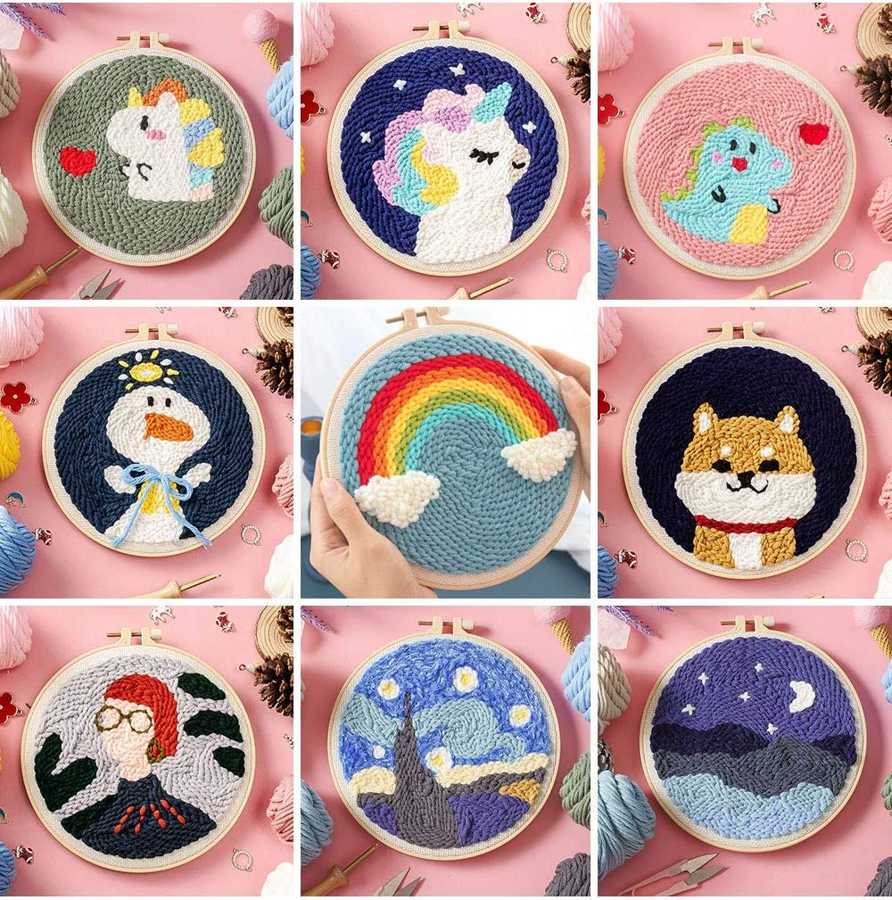 VLRSY Punch Needle Embroidery Starter Kits DIY Latch Hook Craft Needlework Knitting Kit with an Adjustable Embroidery Pen Rainbow