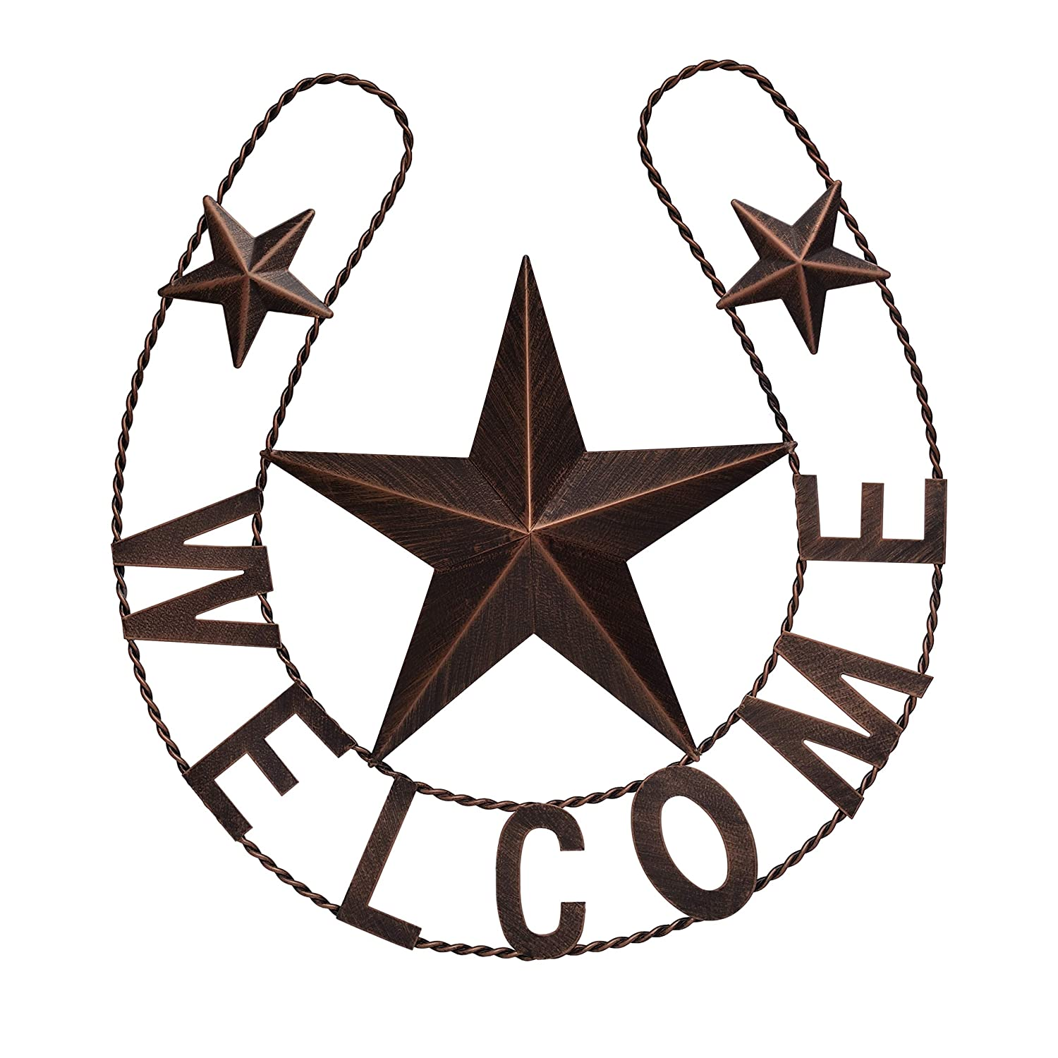 """EBEI Metal Country Lucky Horseshoe Decor Rustic Western Home Wall Decor 19"""" Dark Brown Retro Metal Wall Hanging Decorations Saying Welcome"""